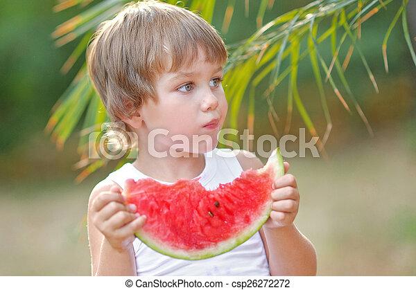 porträt, junge, sandstrand, sommer - csp26272272