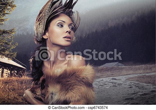 porträt, schöne frau - csp6743574