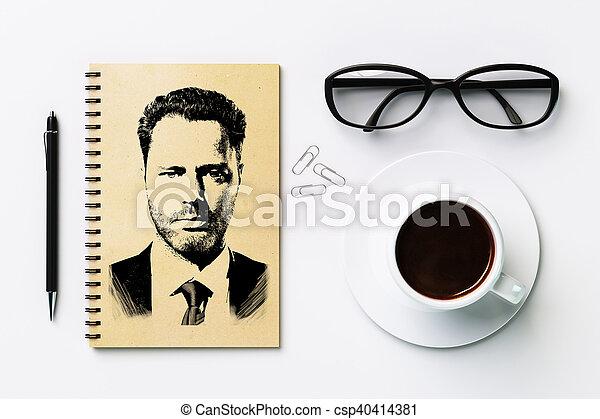 Schreibtisch gezeichnet  Abbildungen von porträt, weißes, schreibtisch, gezeichnet - Top ...