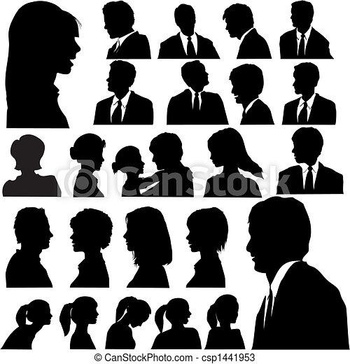 porträtten, folk, silhuett, enkel - csp1441953