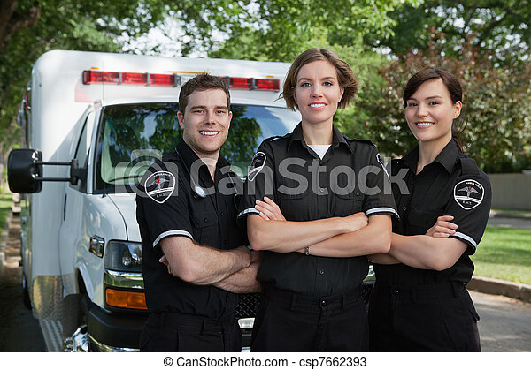 portræt, medicinsk nødsituation, hold - csp7662393