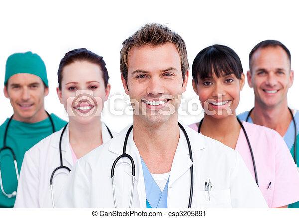 portræt, medicinsk, smil, hold - csp3205891