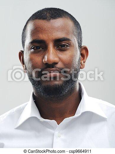 portræt, sort, unge, fine, mand - csp9664911