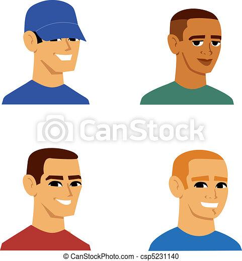 portré, férfiak, avatar, karikatúra - csp5231140