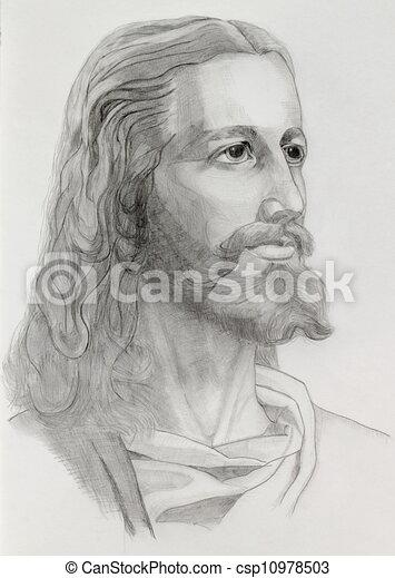 portré, jézus - csp10978503