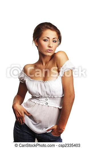 portré, nő, fiatal, bájos - csp2335403