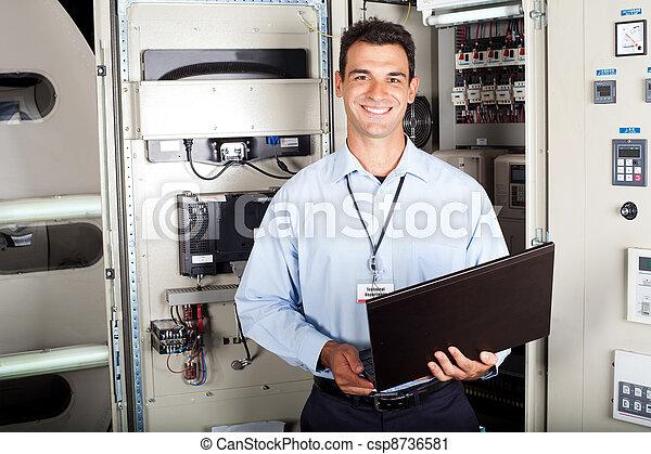 portrét, průmyslový, mužský, inženýr - csp8736581