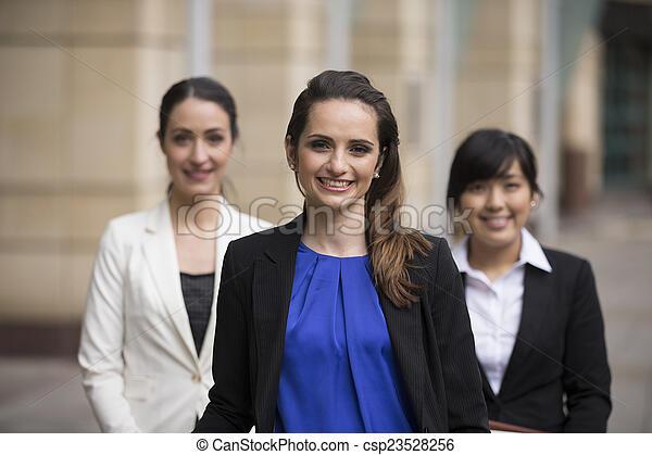 portrait affaires, trois, women. - csp23528256