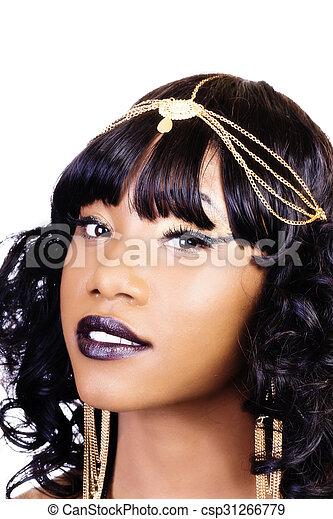 Portrait Attractive African American Woman Golden Jewelry - csp31266779
