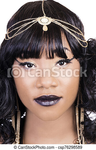 Portrait Attractive African American Woman With Golden Chain Jewelry - csp76298589