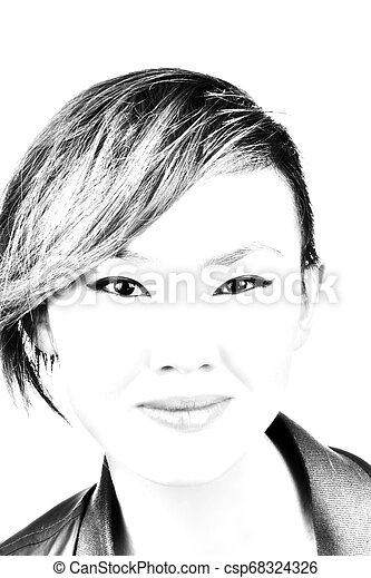Portrait Attractive Asian American Woman Short Hair Black And White - csp68324326