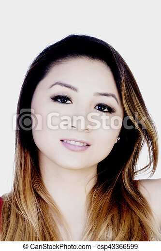 Portrait Attractive Asian American Woman On White Background - csp43366599