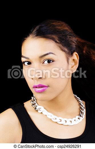 Portrait Attractive Hispanic Woman Necklace Black Background - csp24926291