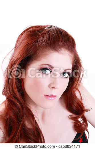Portrait Attractive Red Head Young Caucasian Woman - csp8834171