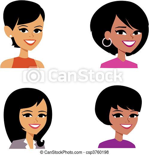 portrait, avatar, dessin animé, illustration, femmes - csp3760198