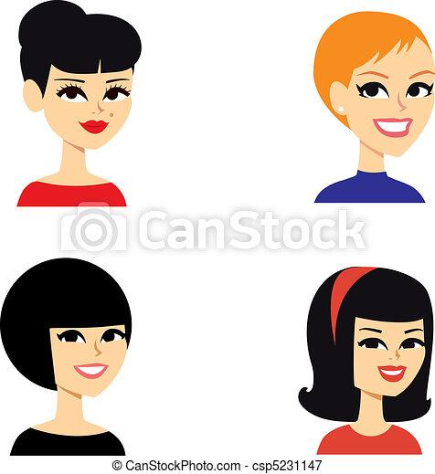 portrait, avatar, femmes, série - csp5231147