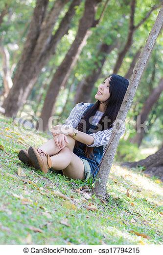 Portrait Beautiful asian woman in Park - csp17794215