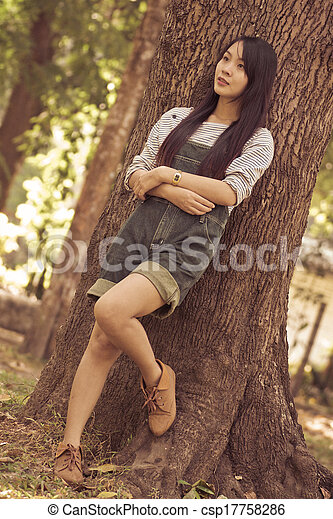 Portrait Beautiful asian woman in Park - csp17758286