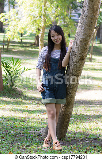 Portrait Beautiful asian woman in Park - csp17794201
