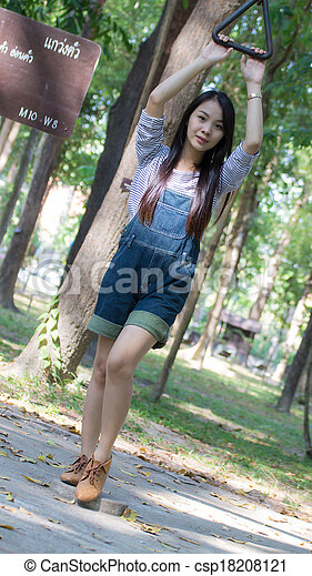 Portrait Beautiful asian woman node - csp18208121