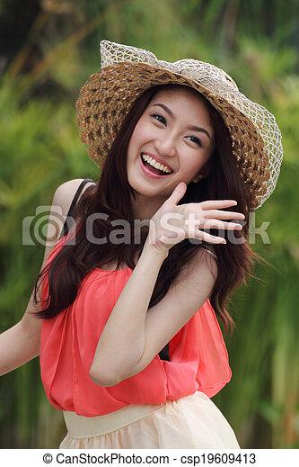 Portrait beautiful Asian woman - csp19609413