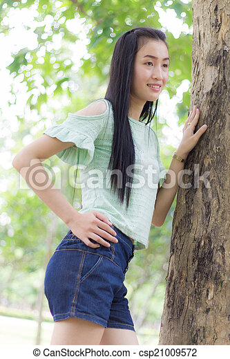 Portrait Beautiful asian woman - csp21009572