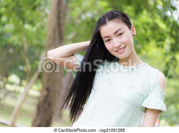 Portrait Beautiful asian woman - csp21091288
