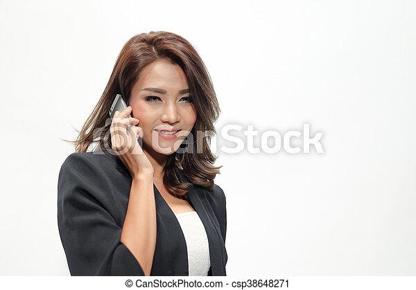 Portrait beautiful asian woman standing - csp38648271