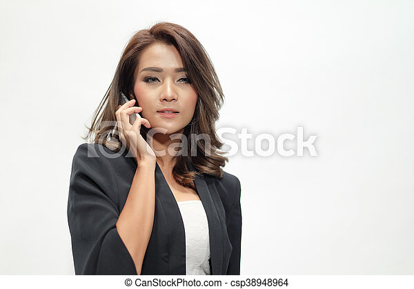 Portrait beautiful asian woman standing - csp38948964
