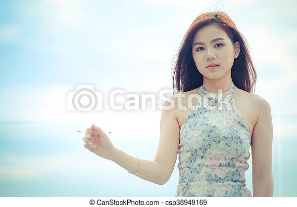 Portrait beautiful asian woman standing, - csp38949169