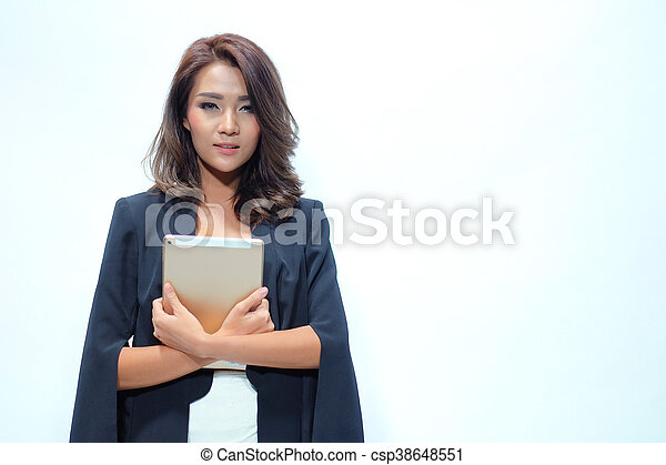 Portrait beautiful asian woman standing, Hold tablet - csp38648551