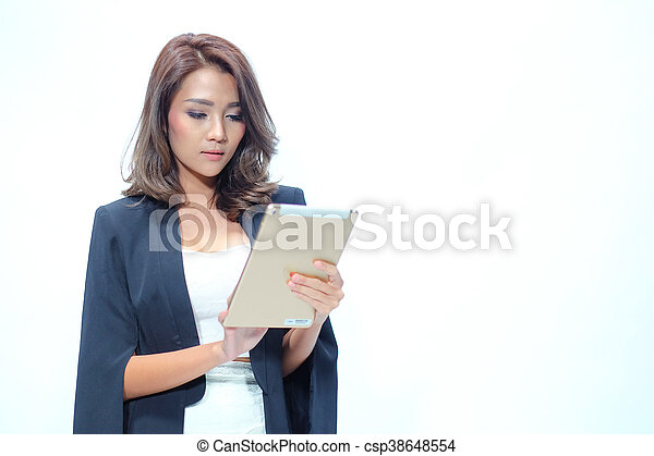 Portrait beautiful asian woman standing, Hold tablet - csp38648554
