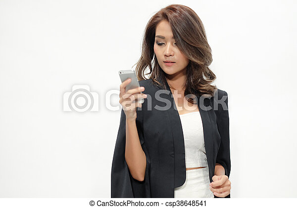 Portrait beautiful asian woman standing - csp38648541