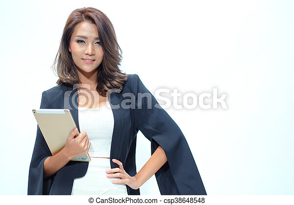 Portrait beautiful asian woman standing, Hold tablet - csp38648548