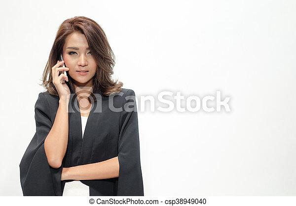 Portrait beautiful asian woman standing - csp38949040