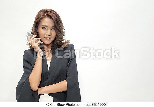 Portrait beautiful asian woman standing - csp38949000