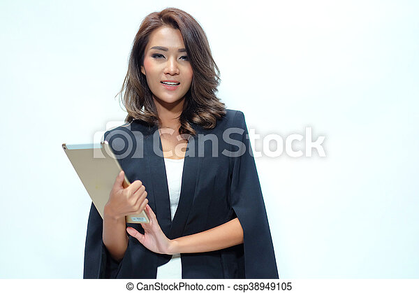 Portrait beautiful asian woman standing, Hold tablet - csp38949105