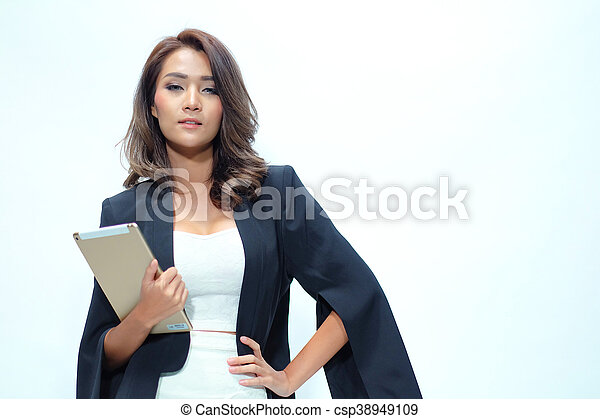 Portrait beautiful asian woman standing, Hold tablet - csp38949109