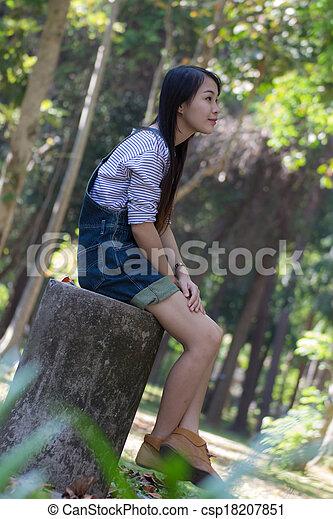Portrait Beautiful asian woman - csp18207851