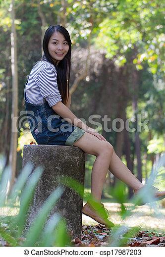 Portrait Beautiful asian woman - csp17987203