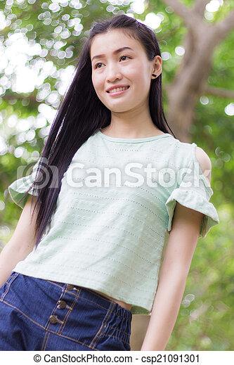 Portrait Beautiful asian woman - csp21091301