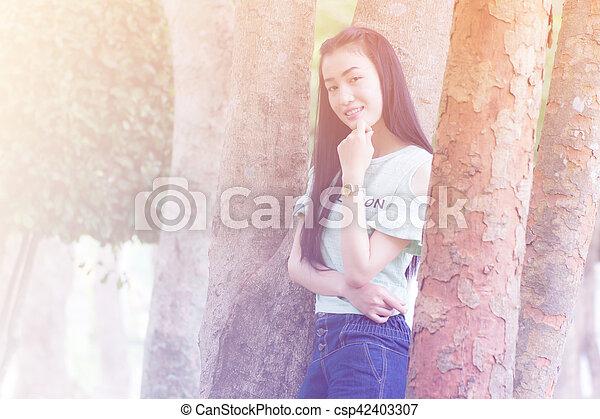 Portrait Beautiful asian woman - csp42403307