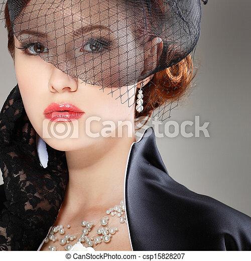 Portrait beautiful girl in retro style - csp15828207