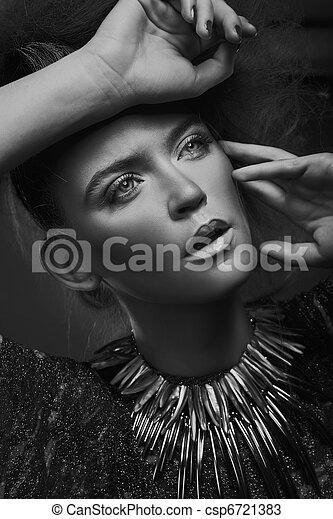 portrait, blanc, femme, noir, beauté - csp6721383