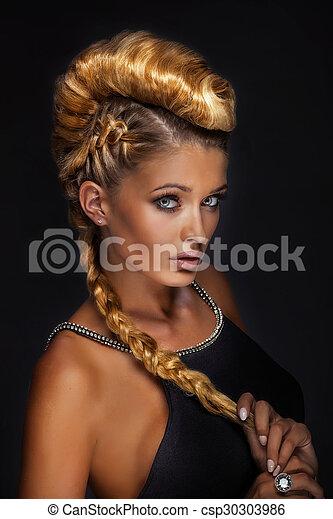 portrait, blond, créatif, dame, hair. - csp30303986