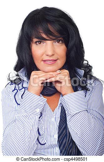 Portrait brunette woman hairstyle - csp4498501