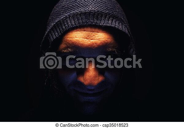 portrait, capuchon, homme - csp35018523