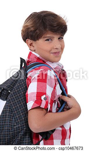 Ecolier portrait, cartable, écolier.