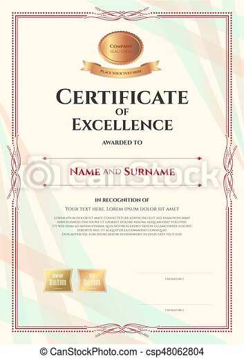Portrait Certificate Of Excellence Template On Abstract  Vector