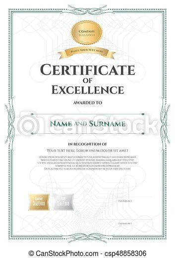 Portrait Certificate Of Excellence Template With Award  Vector